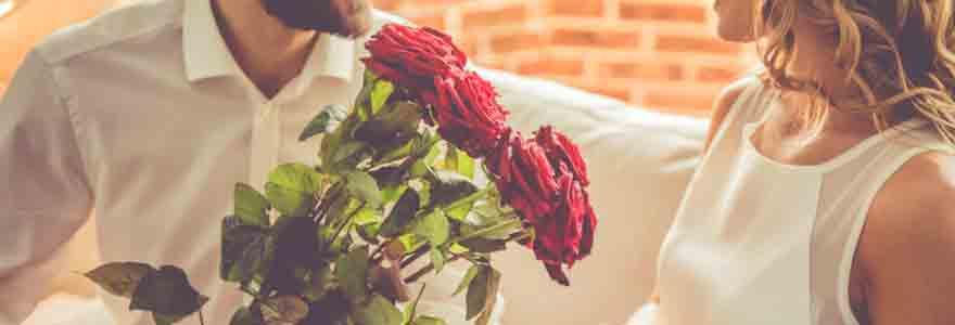 offrir des roses à une femme